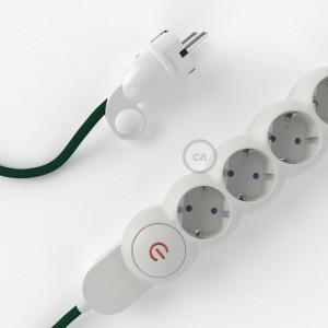 Multipresa con cavo in tessuto colorato effetto seta Verde scuro RM21 e spina schuko con anello confort