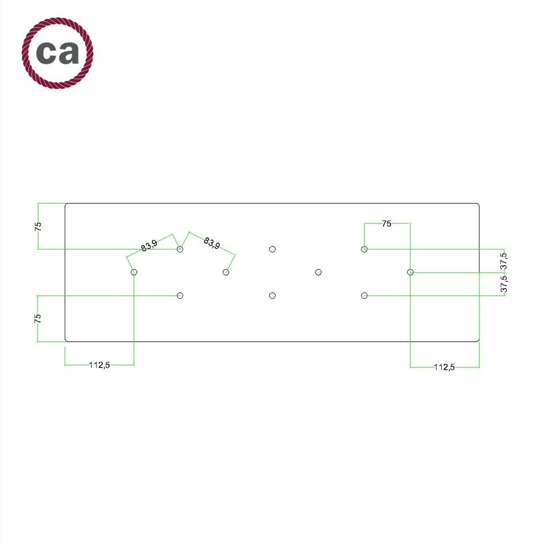 Kit rosone XXL Rose-One rettangolare a 10 fori, dimensioni 675 x 225 mm