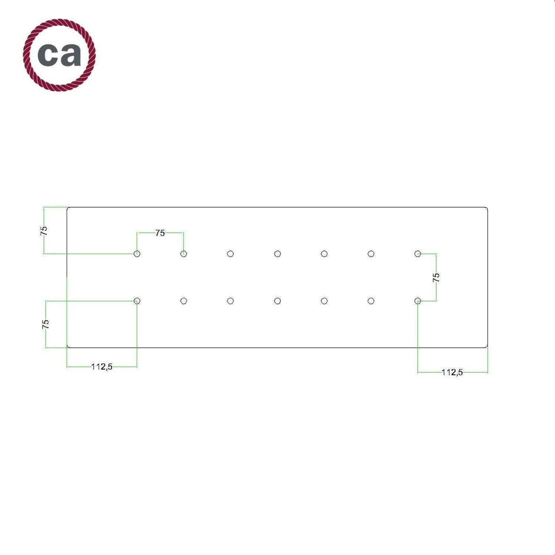 Kit rosone XXL Rose-One rettangolare a 14 fori, dimensioni 675 x 225 mm