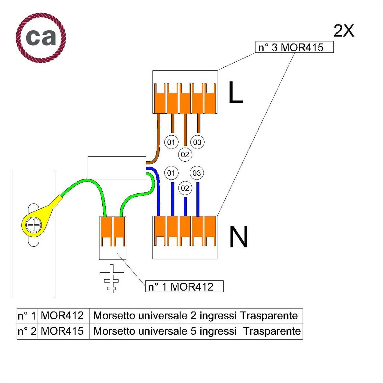 Kit di collegamento WAGO compatibile con cavo 2x per Rosone a 3 fori