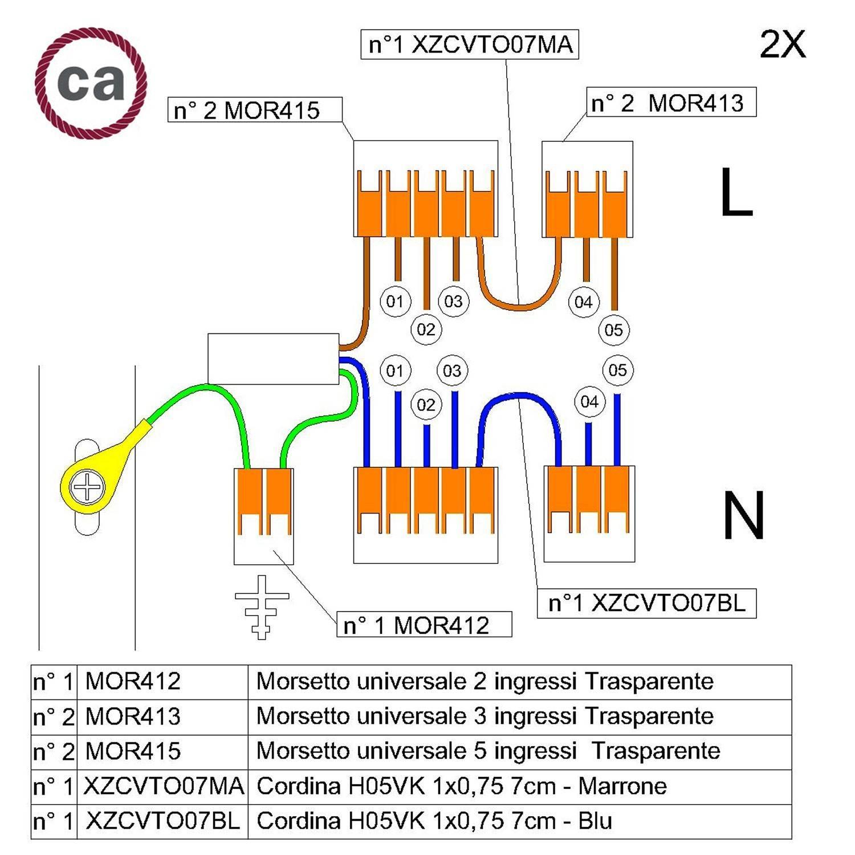Kit di collegamento WAGO compatibile con cavo 2x per Rosone a 5 fori