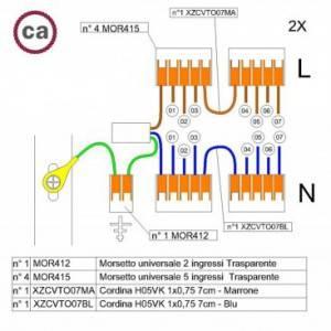 Kit di collegamento WAGO compatibile con cavo 2x per Rosone a 7 fori