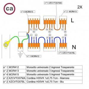 Kit di collegamento WAGO compatibile con cavo 2x per Rosone a 8 fori
