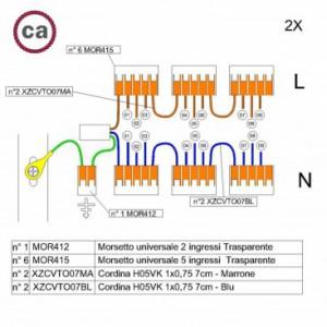 Kit di collegamento WAGO compatibile con cavo 2x per Rosone a 9 fori