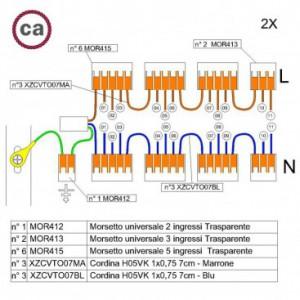 Kit di collegamento WAGO compatibile con cavo 2x per Rosone a 11 fori