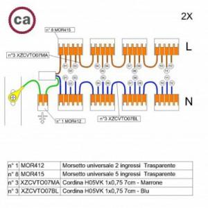 Kit di collegamento WAGO compatibile con cavo 2x per Rosone a 12 fori