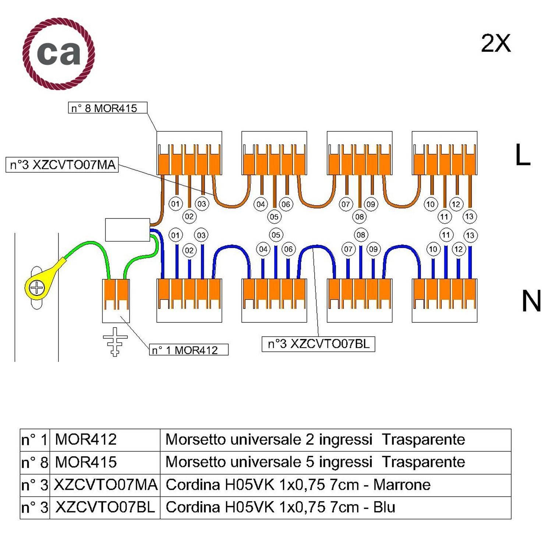Kit di collegamento WAGO compatibile con cavo 2x per Rosone a 13 fori