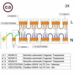 Kit di collegamento WAGO compatibile con cavo 2x per Rosone a 14 fori