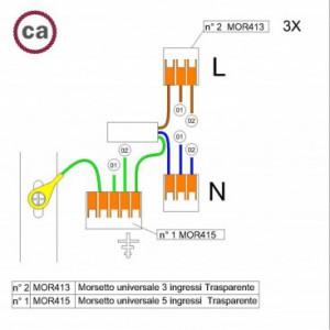 Kit di collegamento WAGO compatibile con cavo 3x per Rosone a 2 fori