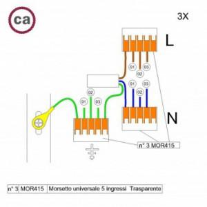Kit di collegamento WAGO compatibile con cavo 3x per Rosone a 3 fori