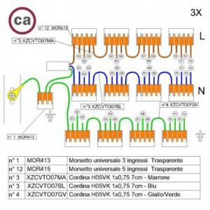 Kit di collegamento WAGO compatibile con cavo 3x per Rosone a 13 fori