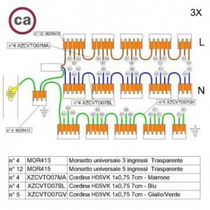 Kit di collegamento WAGO compatibile con cavo 3x per Rosone a 14 fori