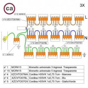 Kit di collegamento WAGO compatibile con cavo 3x per Rosone a 15 fori