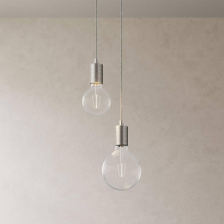 Lampada a sospensione multipla a 2 cadute completa di cavo tessile e finiture in metallo