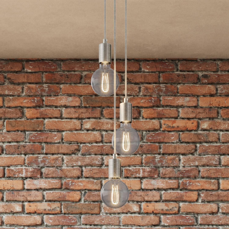Lampada a sospensione multipla a 3 cadute completa di cavo tessile e finiture in metallo