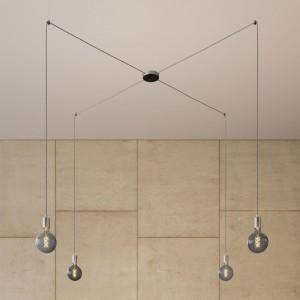 Spider - Lampada a sospensione multipla a 4 cadute Made in Italy completa di cavo tessile e finiture in metallo