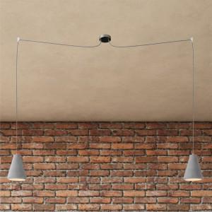 Spider - Lampada a sospensione multipla a 2 cadute Made in Italy completa di cavo tessile e paralume in cemento