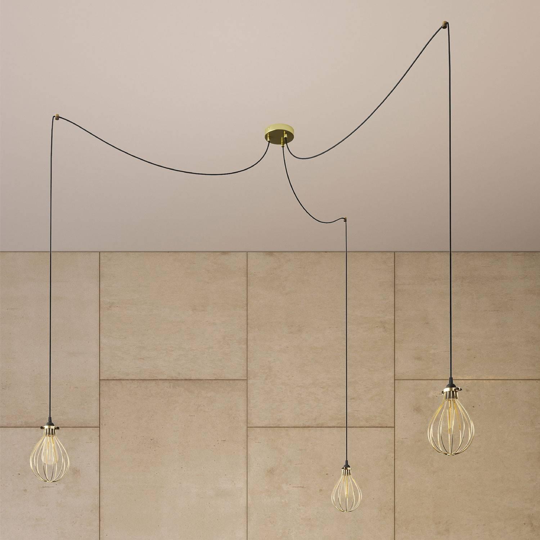 Spider - Lampada a sospensione multipla a 3 cadute Made in Italy completa di cavo tessile e paralume Drop