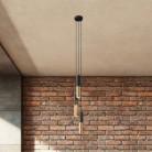 Lampada a sospensione multipla a 3 cadute completa di cavo tessile e paralume in metallo Doppio Tub-E14