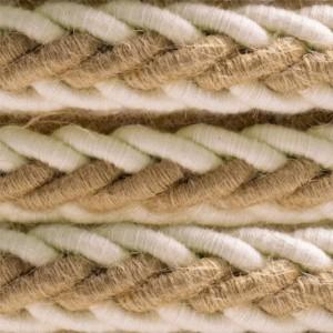 Cordone trecciato 2XL in Juta e Cotone grezzo bianco, cavo elettrico 2x0,75. Diametro 24mm