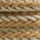 Cordone trecciato 2XL in Juta e Lino naturale grigio, cavo elettrico 2x0,75. Diametro 24mm