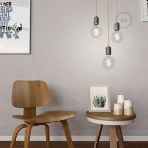 Lampada a sospensione Made in Italy completa di cavo tessile e portalampada in alluminio zigrinato