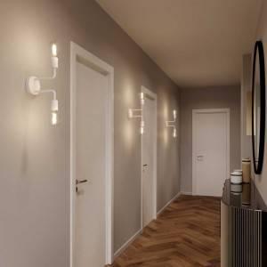Fermaluce Metal, lampada a muro in metallo con doppia estensione curva
