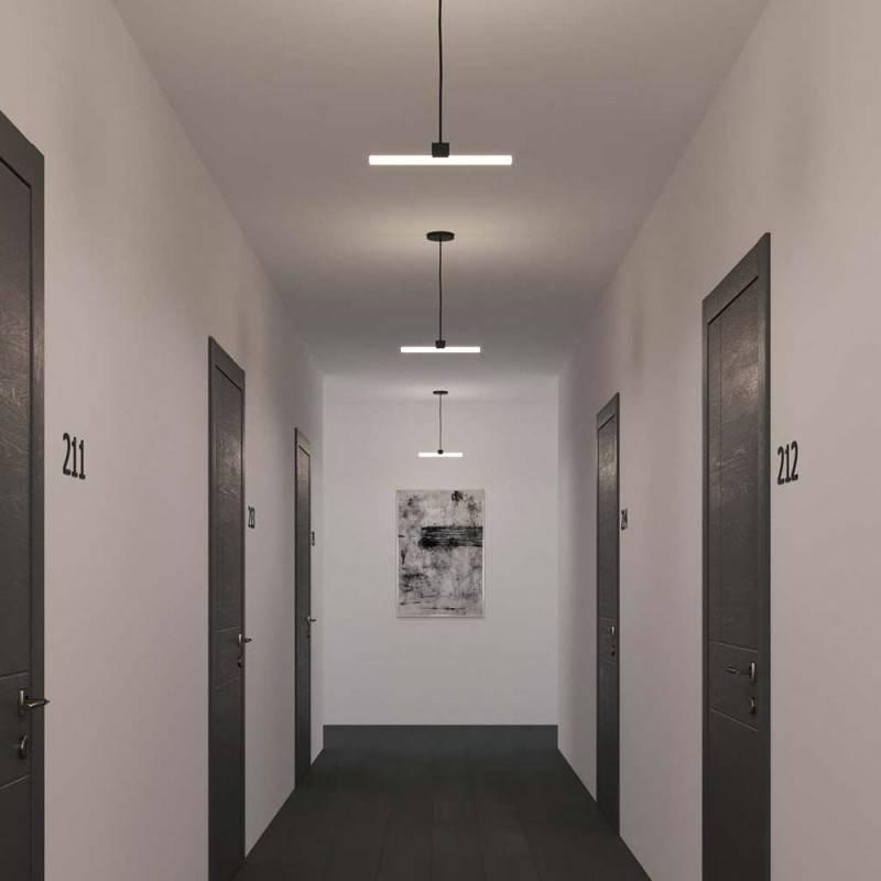 Lampada a sospensione Made in Italy completa di cavo tessile, portalampada S14d Syntax® e finiture in metallo