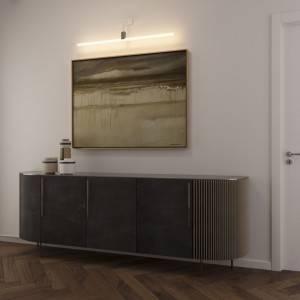 Lampada da parete con portalampada Syntax S14d, estensione a L e rosone ovale in legno