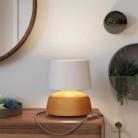 Lampada da tavolo in ceramica Coppa con paralume Athena, completa di cavo tessile, interruttore e spina a 2 poli
