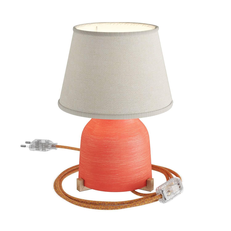 Lampada da tavolo in ceramica Vaso con paralume Impero, completa di cavo tessile, interruttore e spina a 2 poli