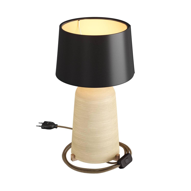 Lampada da tavolo in ceramica Bottiglia con paralume Athena, completa di cavo tessile, interruttore e spina a 2 poli
