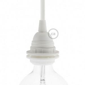 Kit portalampada E27 in termoplastica con doppia ghiera per paralume - Bianco