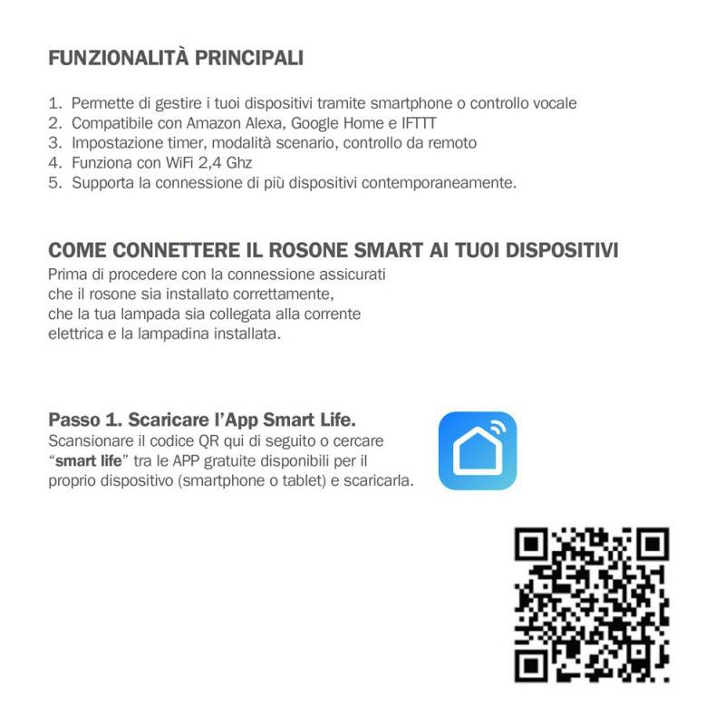 Kit rosone cilindrico in metallo a 4 fori SMART - compatibile con assistenti vocali