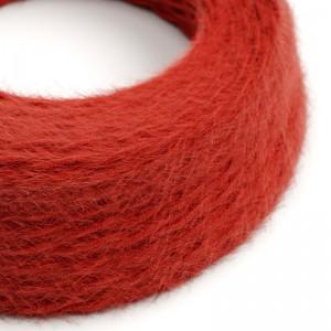 Cavo elettrico trecciato Marlene rivestito in tessuto effetto Peloso Tinta Unita Rosso TP09