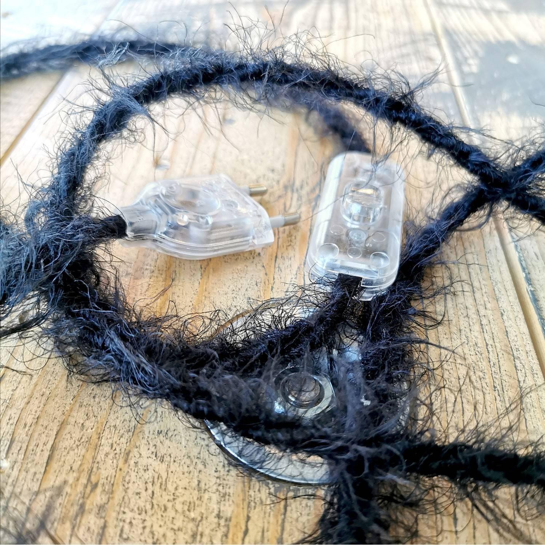Cavo elettrico trecciato Marlene rivestito in tessuto effetto Peloso Tinta Unita Nero TP04