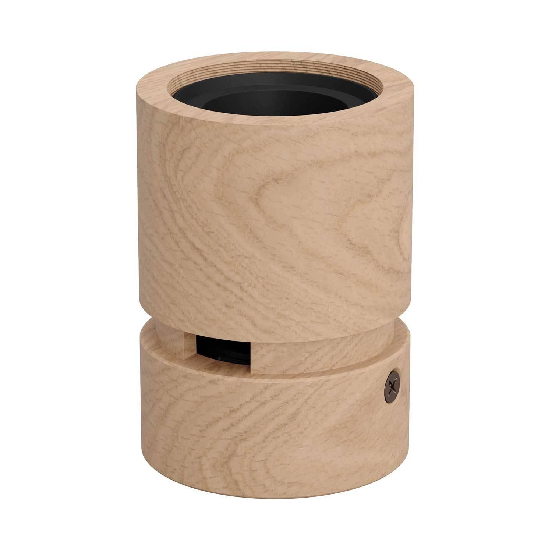 Portalampada in legno per cavo per catenaria e sistema Filé. Made in Italy