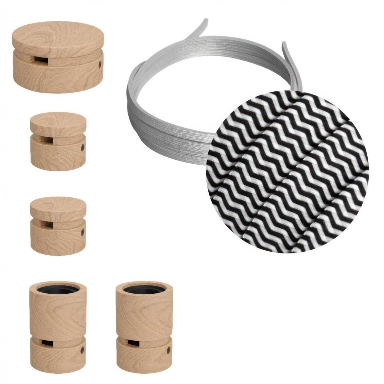 Sistema Filé Wiggle Kit - con cavo di 3 m per catenaria e 5 componenti in legno per interni