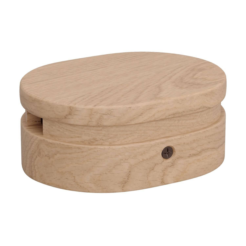 Rosone ovale in legno con 2 fori laterali per cavo per catenaria e sistema Filé. Made in Italy