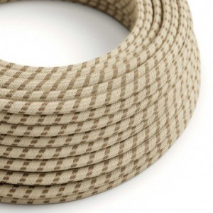 Cavo Elettrico rotondo rivestito in Cotone Stripes color Corteccia e Lino Naturale RD53