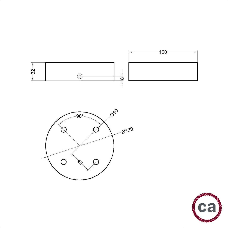 Kit rosone cilindrico in legno a 4 fori