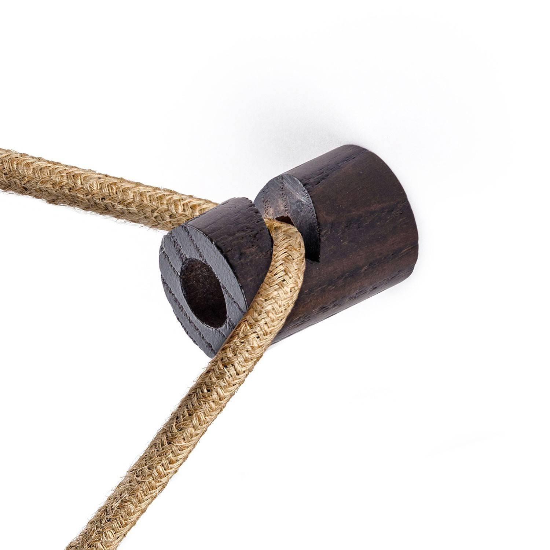 """Decentratore, gancio a """"V"""" a soffitto o parete in legno per cavo elettrico tessile"""