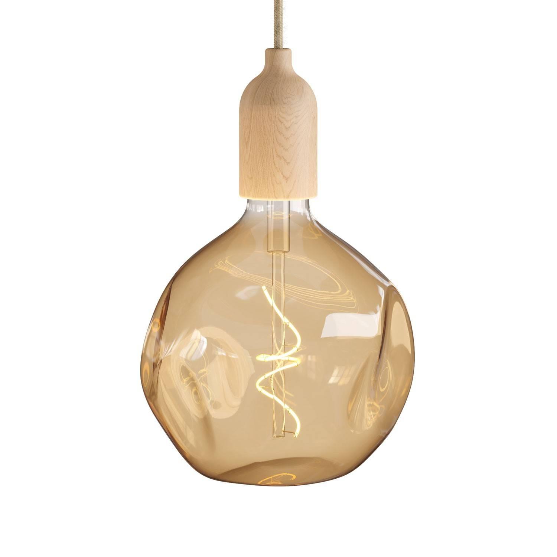 Lampada a sospensione Made in Italy completa di cavo tessile e finiture in legno