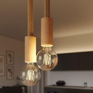Lampada a sospensione multipla a 2 cadute completa di cordone 2XL e finiture in legno