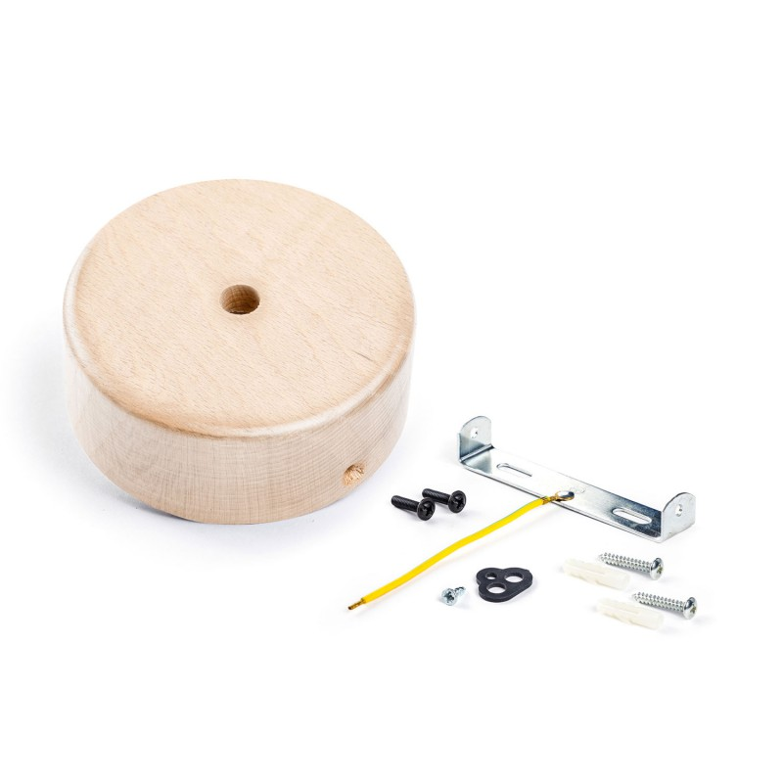 Kit Mini rosone cilindrico in legno a 1 foro centrale