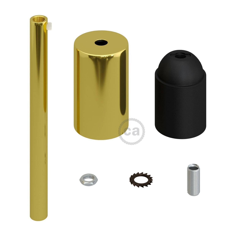 Kit portalampada E27 cilindrico in metallo con serracavo da 15 cm