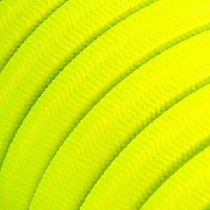 Cavo elettrico per Catenaria rivestito in tessuto Effetto Seta Tinta Giallo Fluo CF10