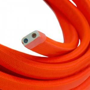 Cavo elettrico per Catenaria rivestito in tessuto Effetto Seta Tinta Arancione Fluo CF15
