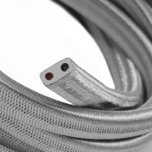 Cavo elettrico per Catenaria rivestito in tessuto Effetto Seta Argento CM02