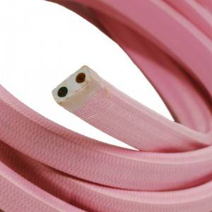 Cavo elettrico per Catenaria rivestito in tessuto Effetto Seta Rosa Baby CM16